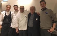 01 - Lo chef Ettore Bocchia con il suo staff, Paolo Borzatta e Andrea Sala
